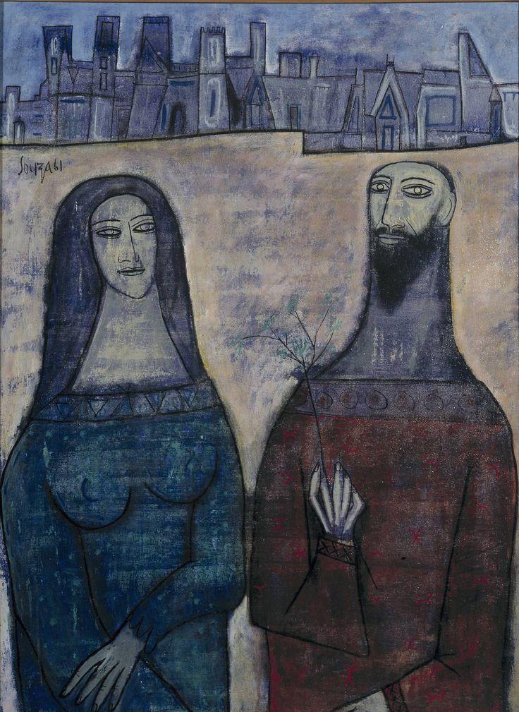 F.N. Souza 'Two Saints in a Landscape', 1961 © The estate of F.N. Souza