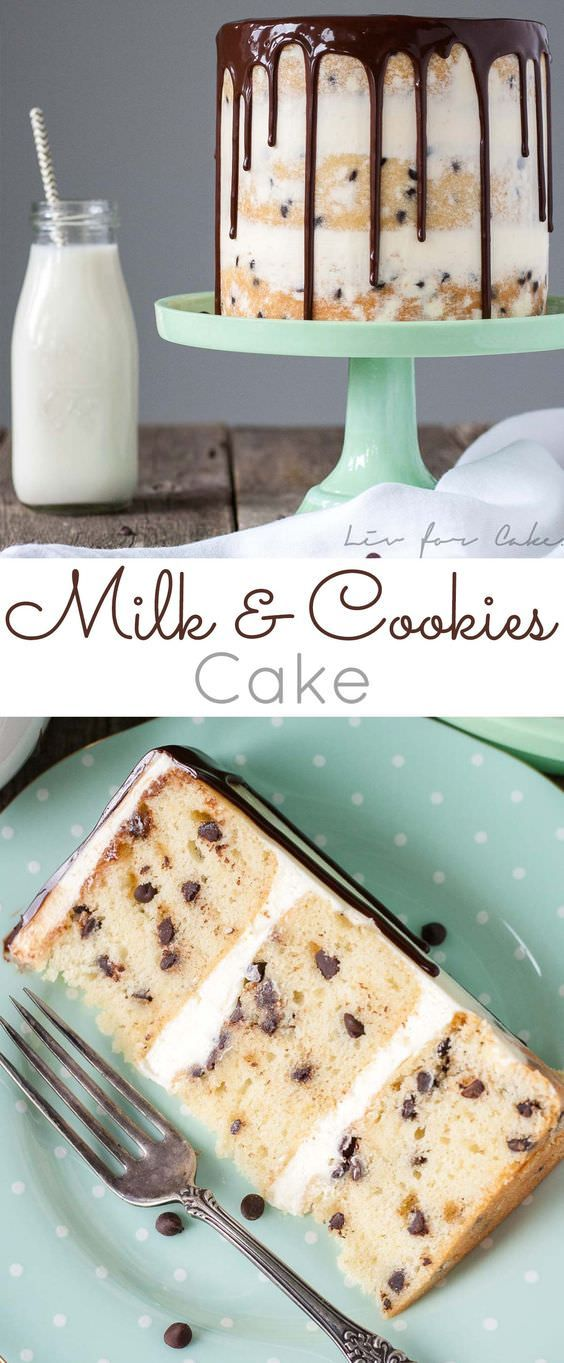 If you're a milk lover you'l the recipe! It's a basic vanilla cake jazzed up with some mini chocolate chips with milky buttercream!