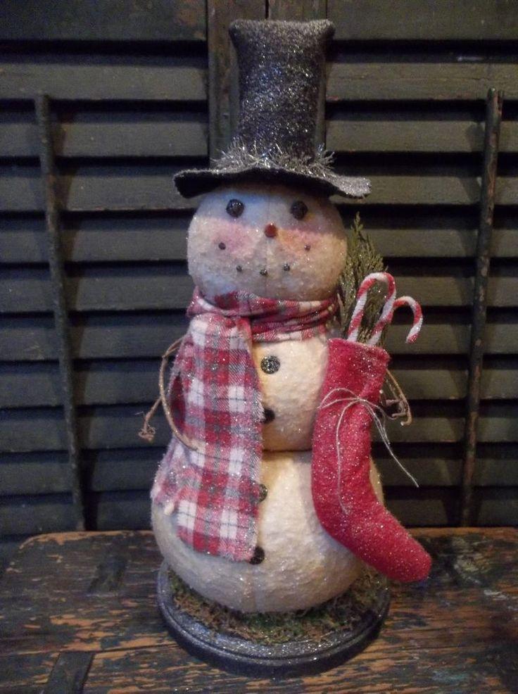 Sweet Prim Handmade Snowman on Wood Base with Stocking - Christmas/Winter Decor