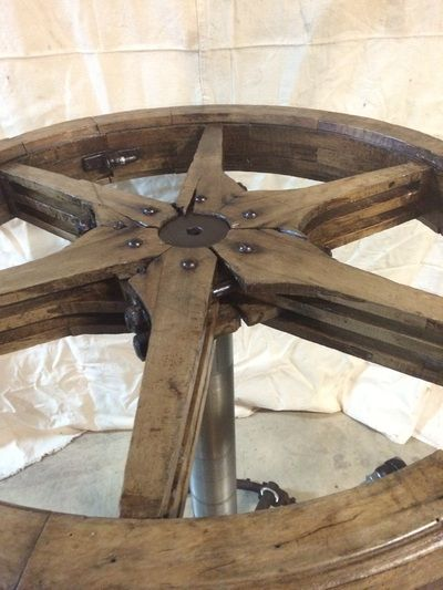 Flat Belt Pulley Pub Table Re Purposed Wooden Pulley