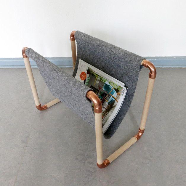 zeitschriftenst nder lukea aus holz und kupfer kupfer zeitungsst nder und zeitschriften. Black Bedroom Furniture Sets. Home Design Ideas
