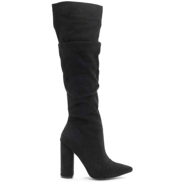 Μαύρη μπότα με πιέτες