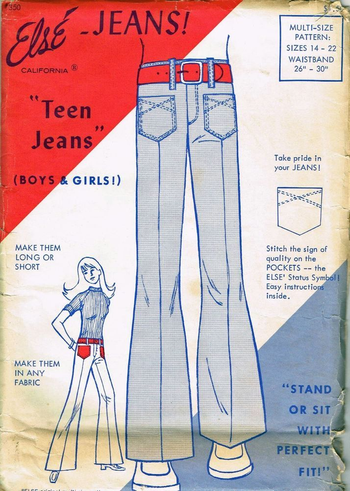 "Vintage Pattern Else' Pattern Teen Jeans Size 22/30"" 1970's Fashion"