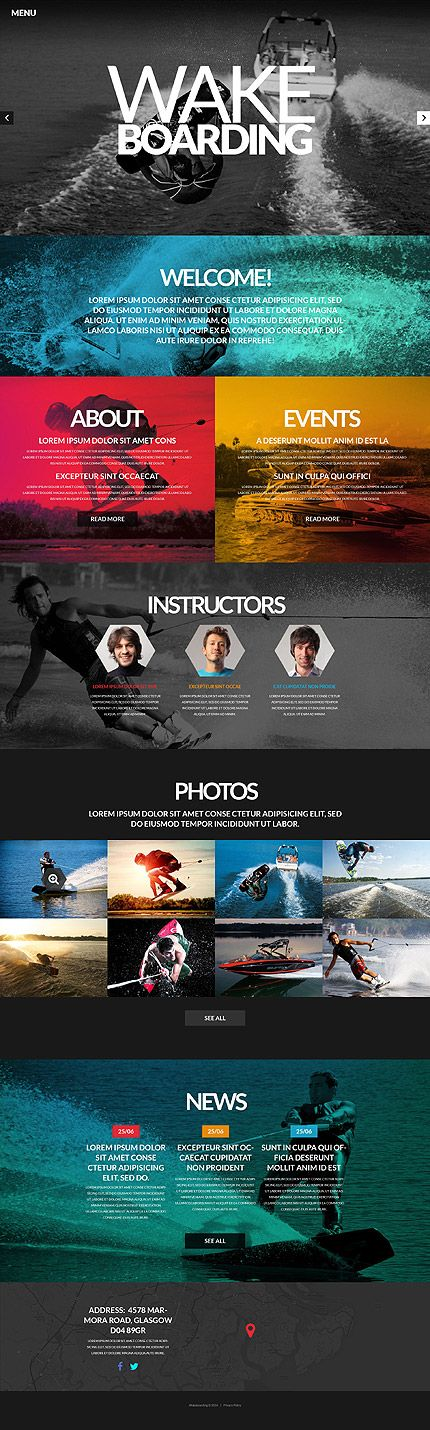 Beautiful Wake Boarding Site Design - I really love the colour blocking.
