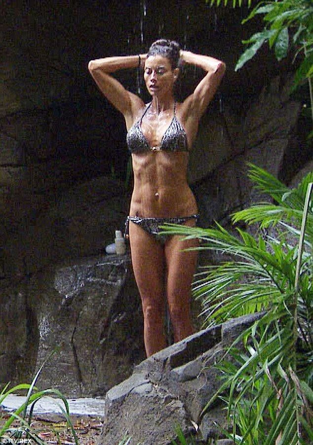 Shower power: Melanie Sykes put her lean physique was on display once again on ITV's I'm A Celebrity... Get Me Out Of Here
