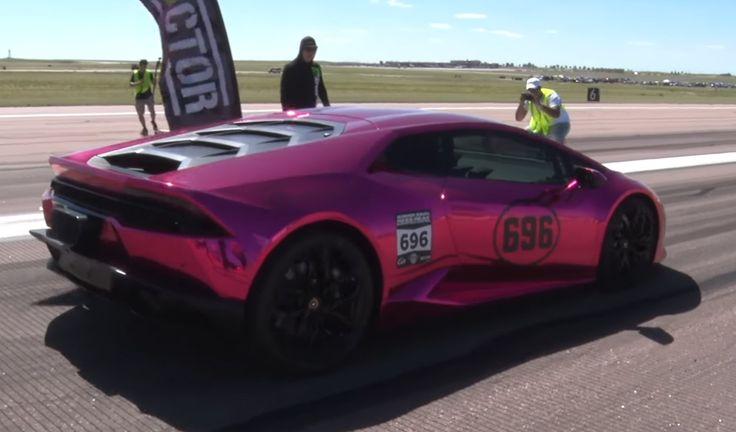 Pink Twin-Turbo Lamborghini Huracan 1/2 Mile World Record