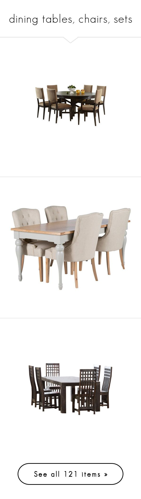 """""""dining tables, chairs, sets"""" by coralkahler ❤ liked on Polyvore featuring home, furniture, seven piece dining set, wood furniture, wooden table and chairs, wooden table chairs, wooden dining set, chairs, dining chairs and cream dining chairs"""