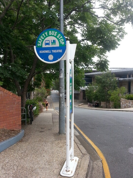 Safety bus stop for Schonell theatre