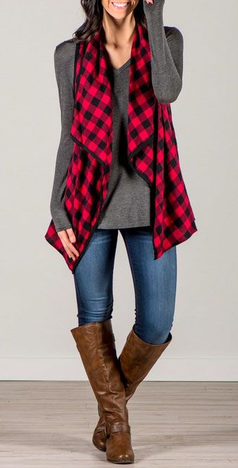 Stay comfy all day in this vest coat. Features with plaid and irregular design, pairing it with your jeans and boots would be perfect. See more amazing items at Fichic.com!
