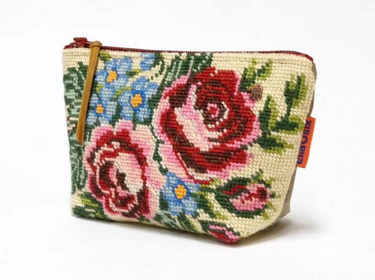 Vintage Needlepoint Cosmetic Bag - French Tapestry zippered pouch - Handmade with Love - pinned by pin4etsy.com