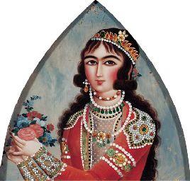Reverse glass painting  QAJAR PERSIA, FIRST HALF 19TH CENTURY