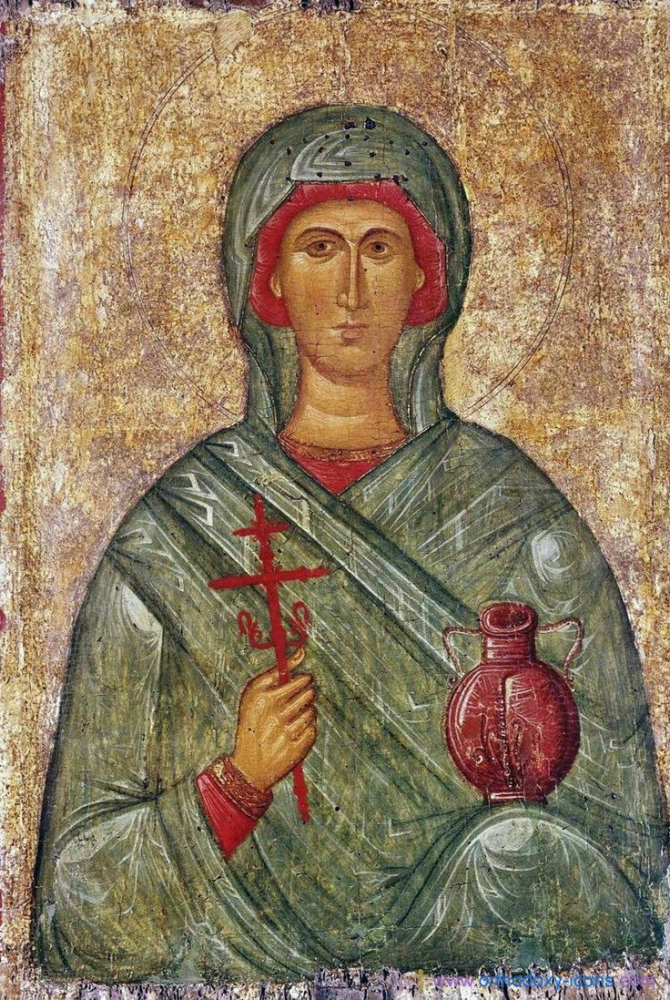 Byzantine icon of Saint Anastasia (XIV c) holding a vial that alludes to her antitoxin powers.Saint-Petersburg (Russia). Museum of Hermitage. Origin: Byzantium, Thessalonike, Late 14th - early 15th century