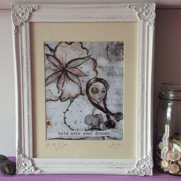 hold onto your dreams, inspirational wall art, whimsical, love, gift, wall art, art print, mixed media print, inspire, girls room by SiobhanJordan on Etsy
