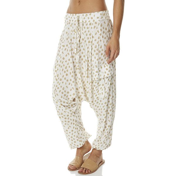 Zulu And Zephyr Oasis Womens Pant Cotton ($110) ❤ liked on Polyvore featuring pants, printed pants, women, low crotch pants, print pants, white trousers, cotton pants and white harem pants
