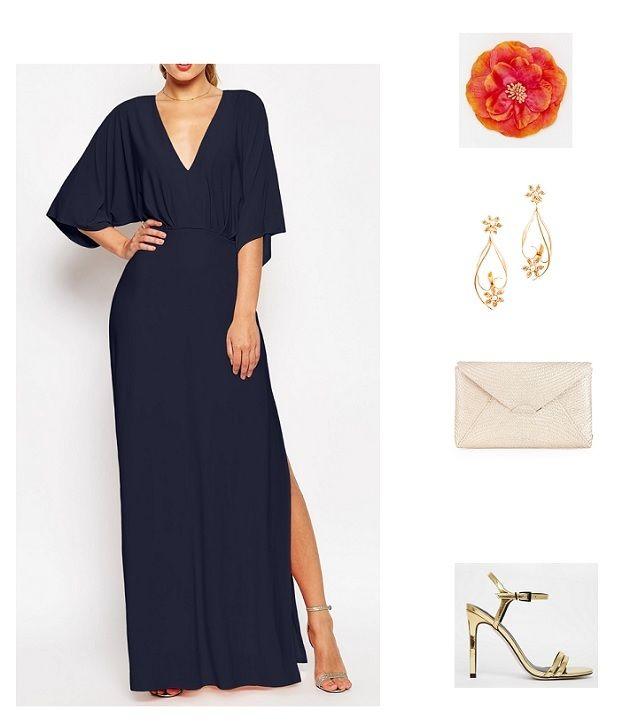 look boda noche vestido azul marino