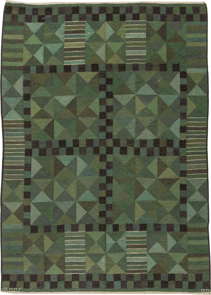 Vintage Rugs: Vintage Rug by Judith Johansson Swedish Flat weave for Scandinavian scandi interior decor, Scandinavian living room by Marianne Richter