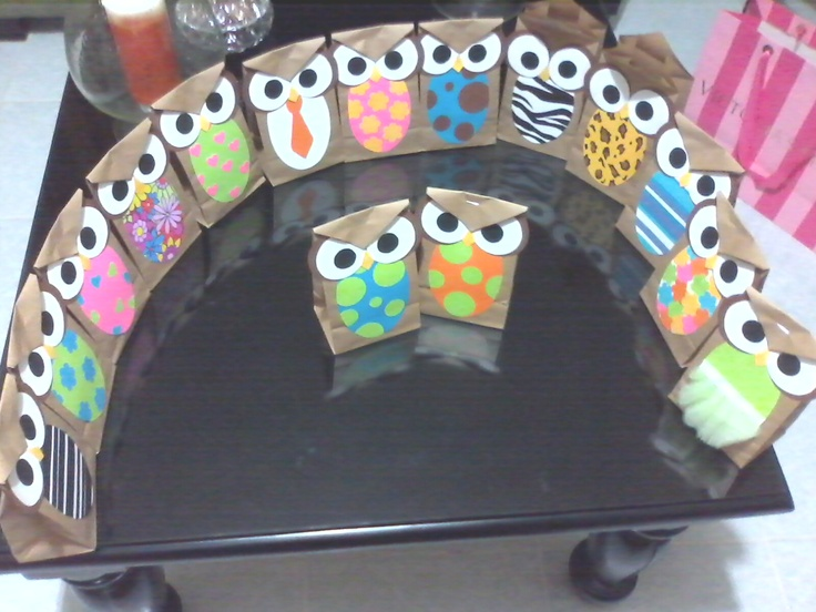 Owl Paper Bags with chocolates inside