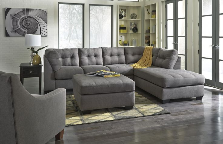 Benchcraft Maier - Charcoal 2-Piece Sectional with Right Chaise - Sam's Appliance & Furniture - Sofa Sectional