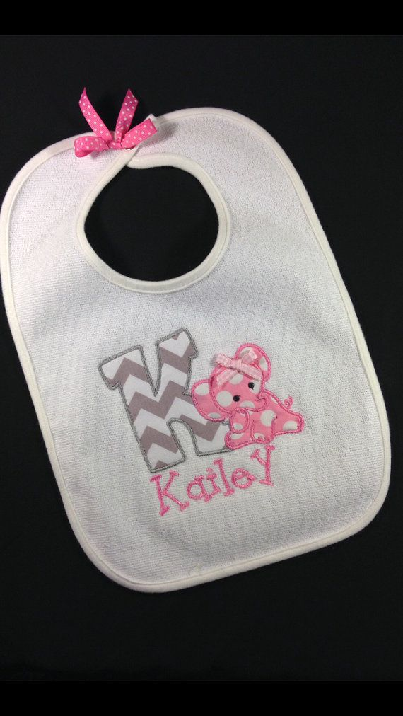 Monogrammed Personalized Baby Girl Boy Elephant Bib Gift