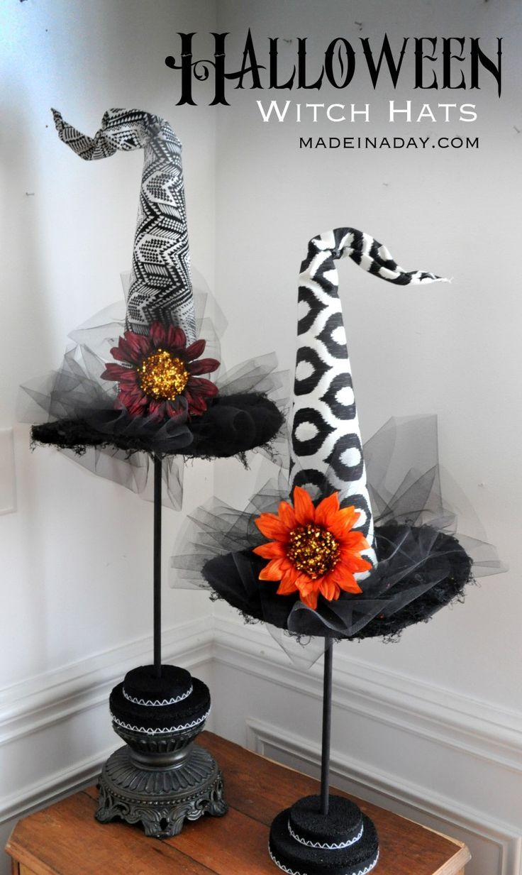 DIY Decorative Witch Hats Halloween Prop http://madeinaday.com                                                                                                                                                      More