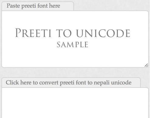 Convert Preeti Font to Nepali Unicode Font