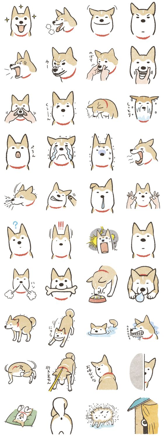 Shiba Inu (Shiba-Dog) stamps So many of theses faces were made by my dear Ichiro. #DogDrawing