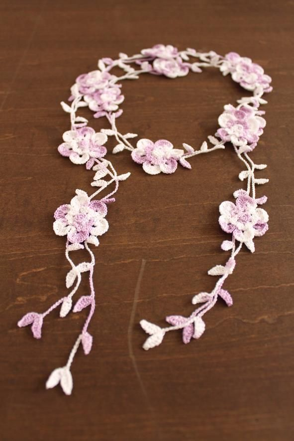 crochet flower necklace lariat