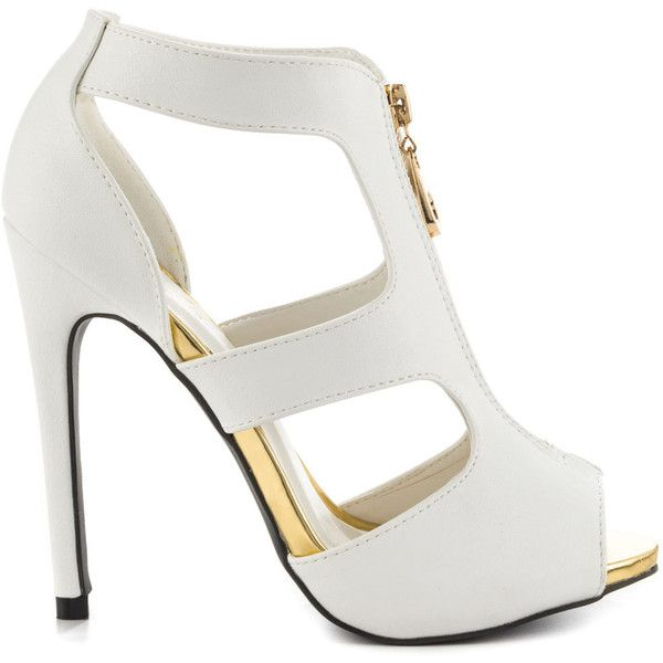 Qupid Women's Hannah - White PU ($65) ❤ liked on Polyvore featuring shoes, heels, sandals, white, stilettos shoes, qupid, white high heel shoes, white shoes and heels stilettos