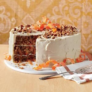 Top carrot cake with brown sugar-cream cheese, toasted pecans and candied carrot curls for the ultimate jaw dropper.