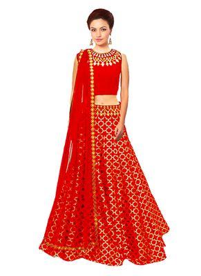 red embroidered jacquard navratri lehenga choli at Mirraw.