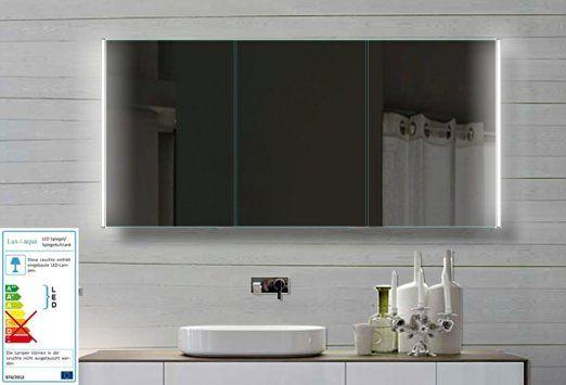 Fine Line Spiegelschrank 140x72cm mit LED Beleuchtung Kalt-Warm - badezimmer spiegelschrank mit beleuchtung günstig