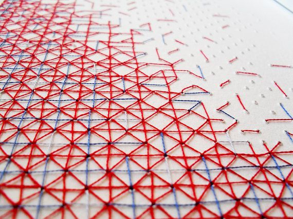 Geometric cross stitch A4 paper artwork in red & blue thread. Original abstract textile design by Rachel Parker.