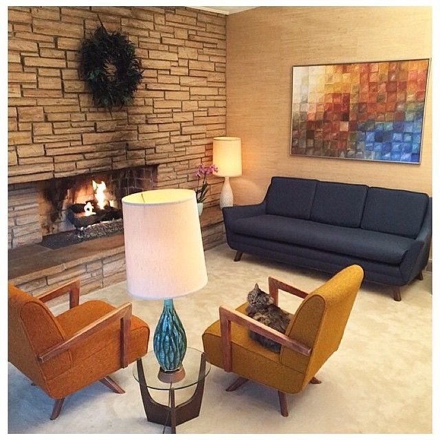 best 25 midcentury fireplaces ideas on pinterest. Black Bedroom Furniture Sets. Home Design Ideas