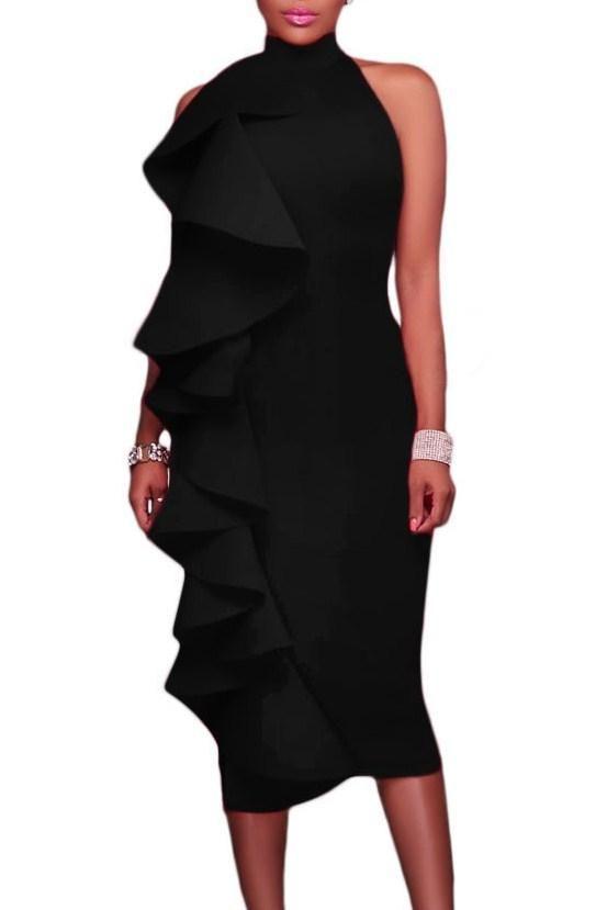 Robe de Soiree Noire a Volant Mi longue Col Roule Dos Nu Pas Cher www.modebuy.com @Modebuy #Modebuy #Noir #femmes #sexy #robes