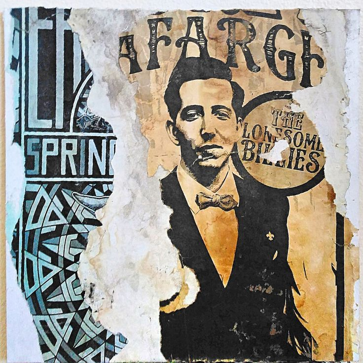 TLB decollage on unframed Matboard/Torn poster collage/gift ideas by PansArtPdx…
