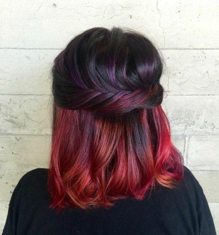 des mèches inférieures colorés, coloration rouge cerise