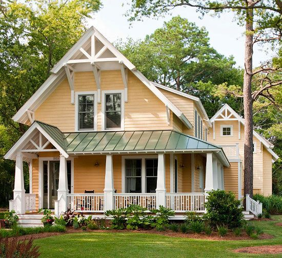 Give your home an exterior facelift! More ways to add curb appeal: http://www.bhg.com/home-improvement/exteriors/curb-appeal/ways-to-add-curb-appeal/?socsrc=bhgpin082413yellowhouse=16