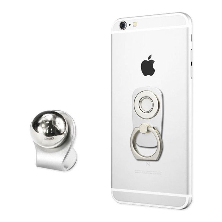 Reiko UNIVERSAL 2-IN-1 MAGNETIC CAR MOUNT HOLDER WITH 360 DEGREE ROTATION FINGER RING GRIP IN SILVER