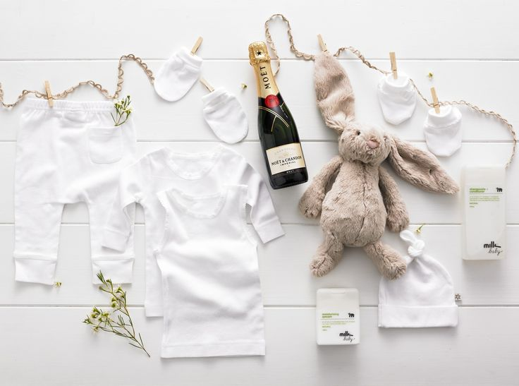 My First Bunny Deluxe - $185.00  Moet & Chandon Brut Imperial half bottle 375ml, Jellycat medium beige bashful bunny, Milk Baby Shampoozle & Conditioner 375ml, Milk Baby Moisturising Qweam 150ml, Marquise white singlet, Marquise white long sleeve spencer, Marquise white legging white with embroidered stars and back patch pocket, Marquise white beanie, Marquise white mittens, Marquise white booties www.thespecialdeliverycompany.com.au
