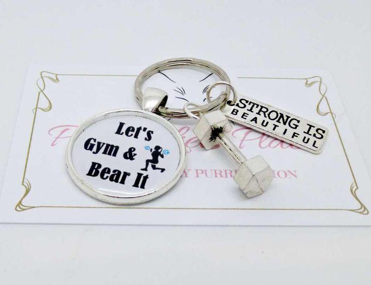 #GymKeychain#LadiesGymKeychain#LetsGymandBearit#BestFriendsGift#GiftforHer #GymLover#Inspirational#KitBag Quotes Keyrings by PyewacketsPlace on Etsy