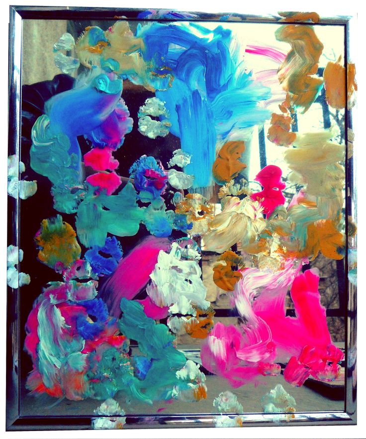 Kissing my art IV  Painted with lips on a mirror  Acrylics on mirror  GEDVIL  XX