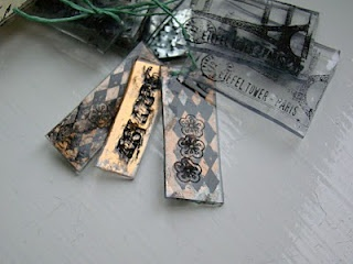 Shrink Plastic Charms: Stamp on top, background stamp on back and paint on back.