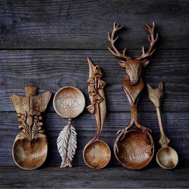 """Клуб креативных людей↪Follow on Instagram: """"Деревянные ложки очень тонкой ручной работы."""
