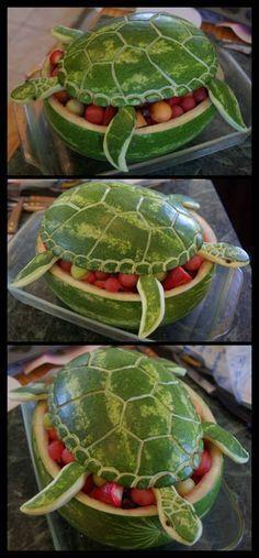 pastèque récipient tortue salade de fruits
