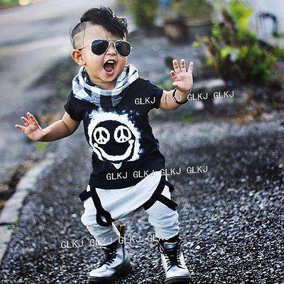 Toddler Boy's Cool Short Sleeve T-shirt Top + Harem Pants Outfit
