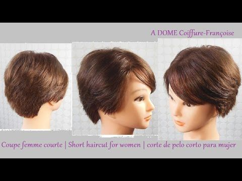 "Coupe courte femme ""dégradée"" | Short haircut for women | Corte de pelo corto mujer - YouTube"