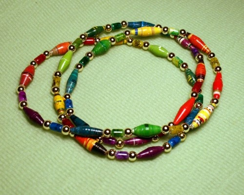 African paper beads rainbow necklace jewels for jules for How to make african jewelry crafts