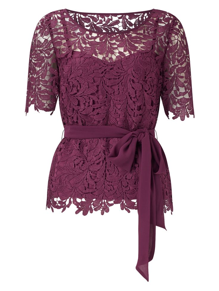 Shop & Jacques Vert & ROBIN LACE BELTED TOP at https://www.