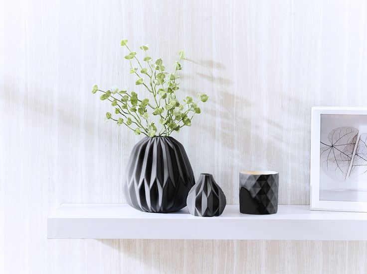 CHALKY VASES & TEALIGHT CHARCOAL Morgan & Finch | Bed Bath N' Table