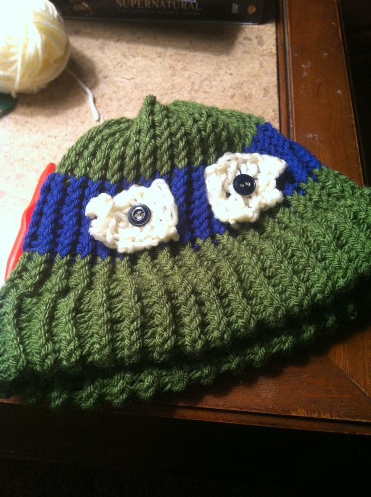 ninja turtles round loom pattern Ninja Turtle Hat. Knitted on a loom. Decem...